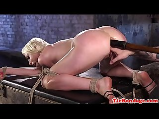 BDSM blonde tied up anal fingered and toyed