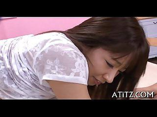 Wet oral stimulation from busty japanese