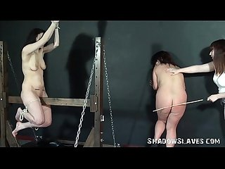 Lesbian spanking and Amateur caning of Bbw slave by fat mistress in the dungeon