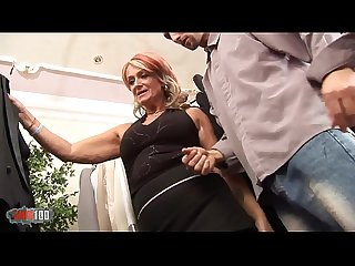 Busty mature slut fucking her young customer