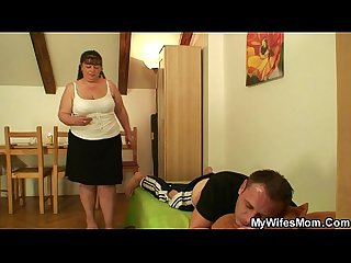 Wife leaves and fat mom in law jumps at his meat