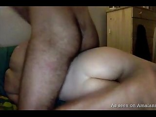 Sexy ass naked babe eats bf s cum