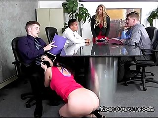 Secretary ryan smiles blows boss under the table