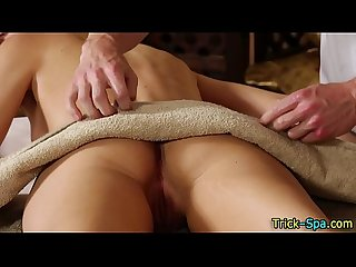 Beauty rubbed by masseur