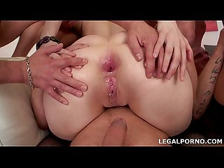 Sperma Party #1, Ariadna swallow 19 cumshots. 7 on 2, no pussy, gapes..