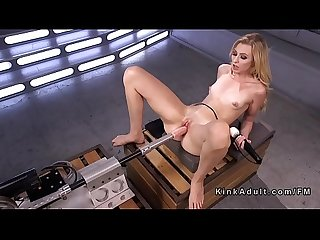 Petite blonde fucks machine Solo