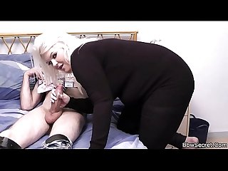 Blonde bbw sucks and rides his horny cock