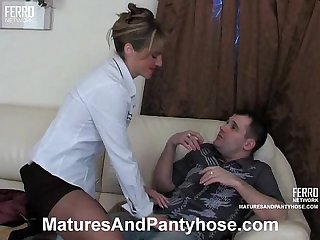 Hot mature riding a young cock