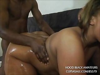 Thick ebony bbw takes 2 big black cocks in every hole period gets large orgy facial