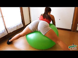 Round ass teen working out with fitball plus cameltoe tits