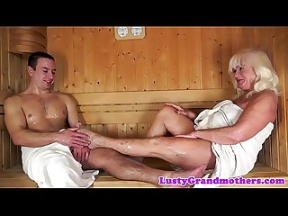 Cumplaying grandma fucked in sauna