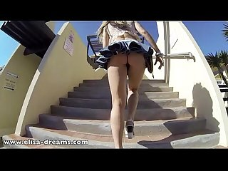 Flashing no panties under my mini skirt