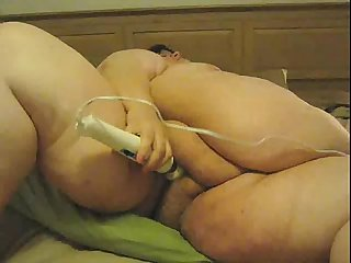 Huge Fat Lady Masturbates with Magic Wand