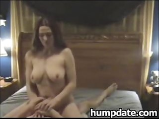 Sexy babe with long hair and big tits rides cock