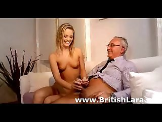 Cute young blonde babe fucks older british guy at home