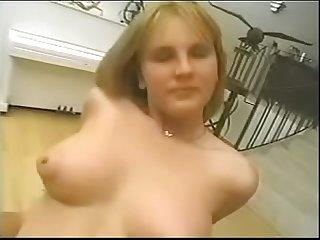 Puffy boob redhead