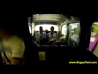 Real brunette in taxi threesome