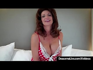 Hot cougar deauxma tests how deep she can go with 9in dildo