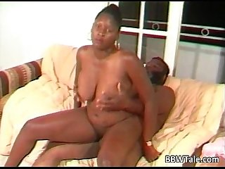 Big black slut rides some black guy