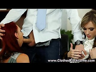 Fetish office threesome bj