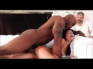 Cute tiny Teen latina cheating Wife gina valentina fucks husbands black friend while he watches and