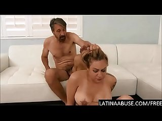 Throat fucked Latina stunner gets a hardcore anal & DP