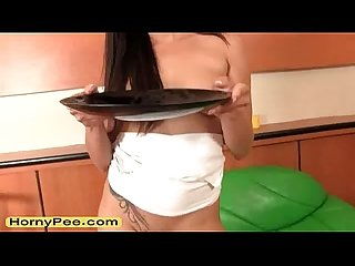 Sexual teen mea melone rub cunny and piss
