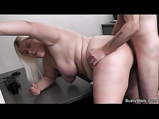 Busty blonde women at work gets fucked