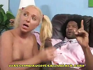 Young blonde enjoys black