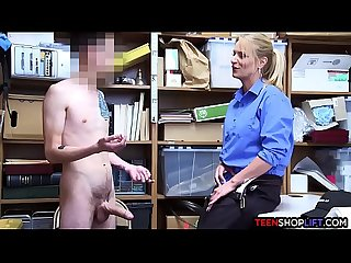 Female mall cop MILF blackmails a young guy into sex