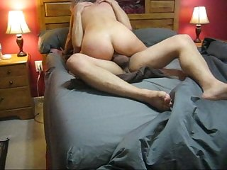 Sexy inshape MILF riding cock and getting her ass fucked - ANAL She loves it!