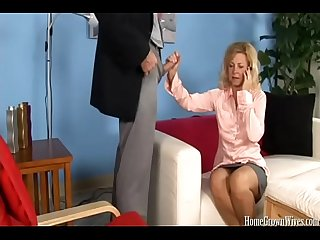 Mature blonde cheats with her therapist