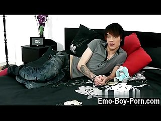 Extreme gay teen porn videos Hot emo lad Lewis Romeo gets down and