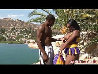 Bigtitted black cheerleader fucked outdoors