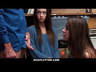 Shoplyfter hot teen thieves fuck their way out of trouble
