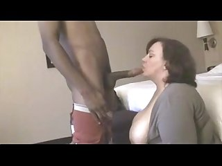 mature BBW fucks young black cock in hotel room while husband is away