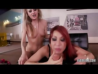 Ava Devine and Natasha Starr in office threesome