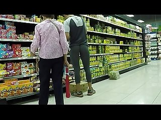 Wearing see thru leggings in supermarket