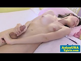 Skinny amateur ladyboy in solo tugging action