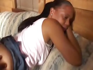 Young black girl comes to receive gets deep anal penetration