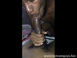 Black thug gives head to his homie and swallows his cum