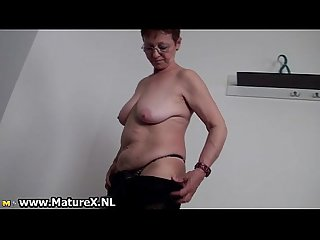Horny busty old housewife is wanking