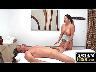 Curvy asian masseuse gets fucked