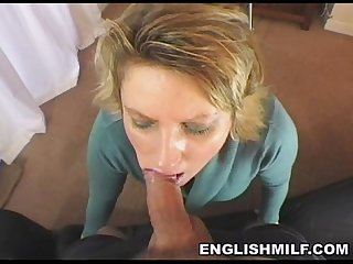 British milf blowjob in stockings