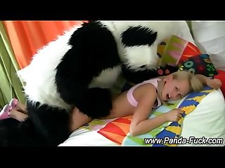 Fetish plush panda gives fake facial
