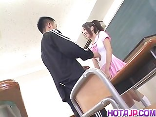 Koyuki matsumoto in pink uniform sucks cocks