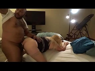 Chubby sissy takes on black cock