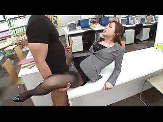 Asian Secretary with Long Legs in Black Pantyhose and High Heels Stilettos