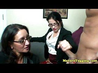 Tugjob loving spex sluts spoiling dick