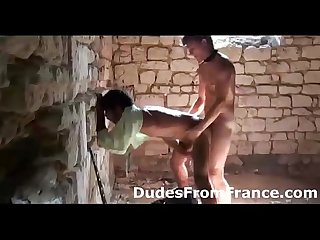 Gay french guy assfucks dude hard against the wall